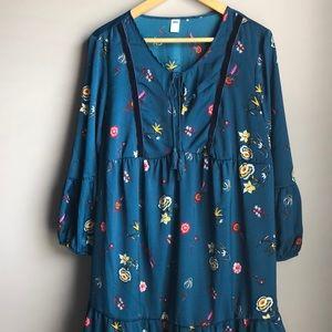 Teal floral long sleeved dress